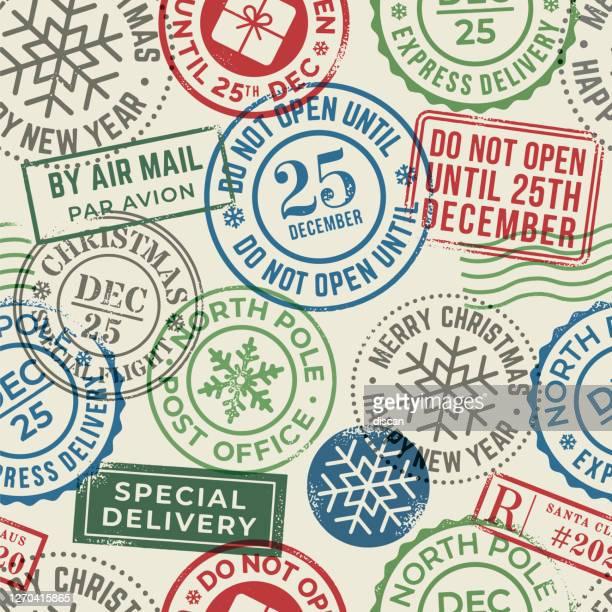 christmas postal seamless pattern. for christmas greeting card, invitations, web banner, sale flyers. - postmark stock illustrations
