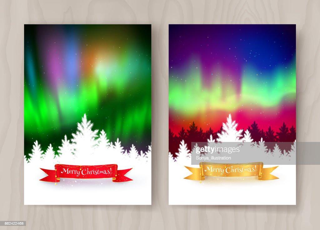 Christmas postcard designs with northern lights