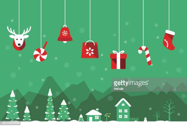christmas poster, greeting card design - non urban scene stock illustrations