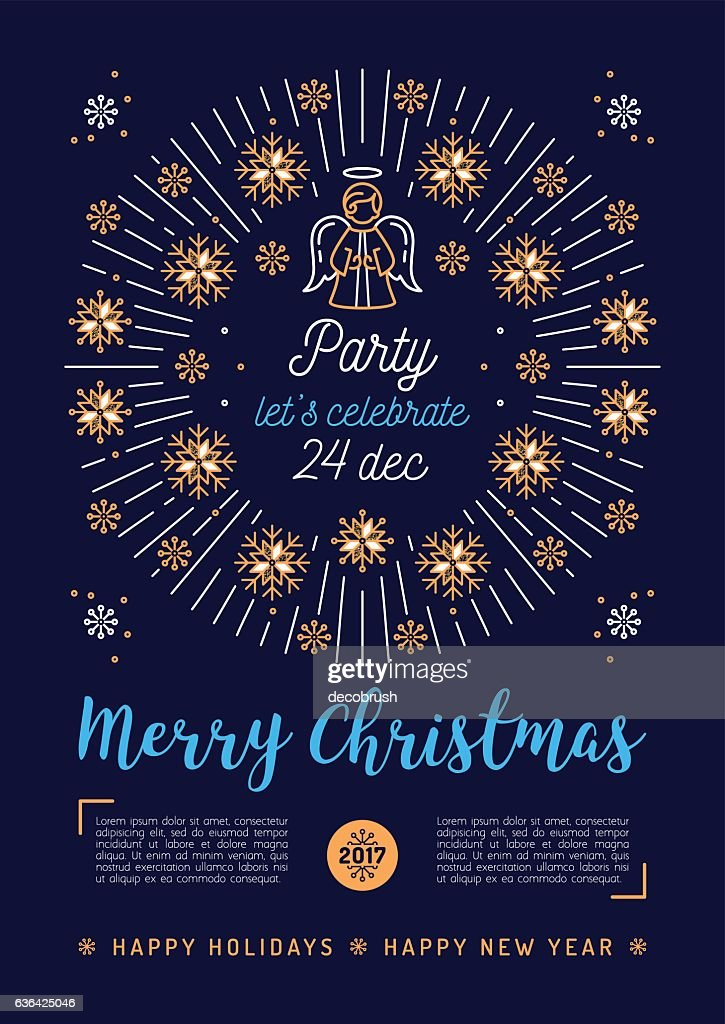 Christmas poster, Holiday Xmas party flyer, Religious placard, Trendy design