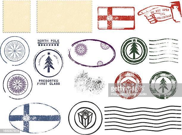 christmas postmark design set - postmark stock illustrations