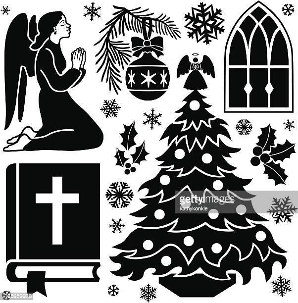 ilustrações de stock, clip art, desenhos animados e ícones de natal elementos de design de oração - mulher orando de joelhos