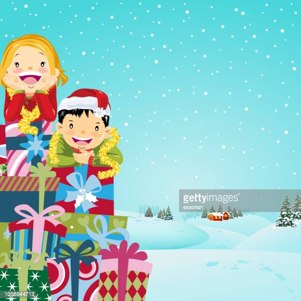 christmas presents pyramid as a christmas tree - naughty america stock illustrations, clip art, cartoons, & icons