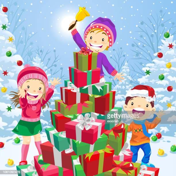 christmas presents pyramid as a christmas tree - naughty america stock illustrations, clip art, cartoons, & icons