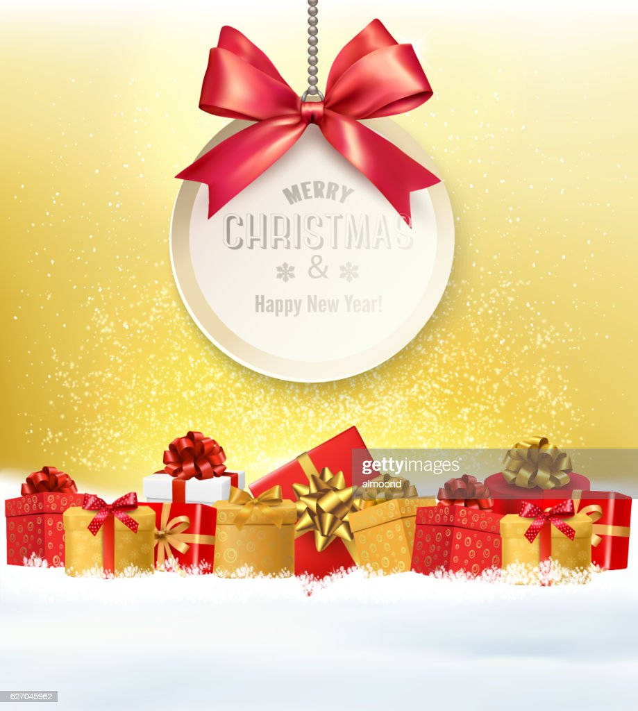 Christmas Presents With A Gift Card And A Ribbon Vector Vector Art ...