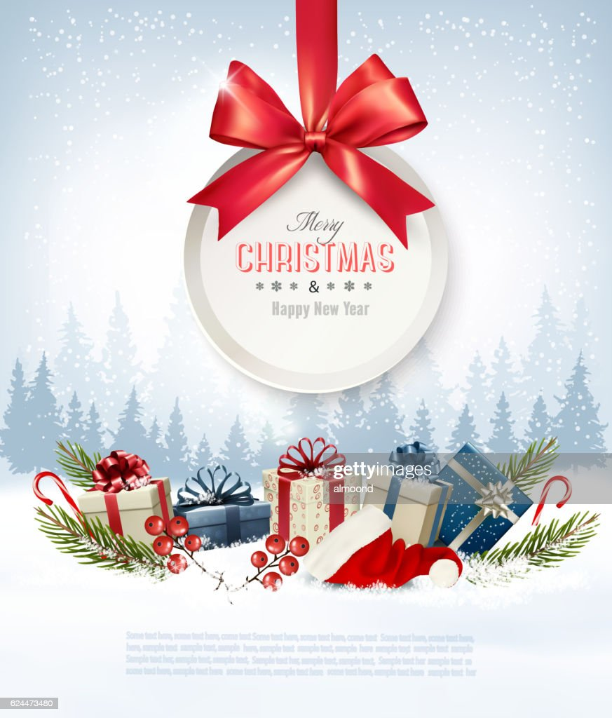 Christmas Presents With A Gift Card And Santa Hat Vector Vector Art ...
