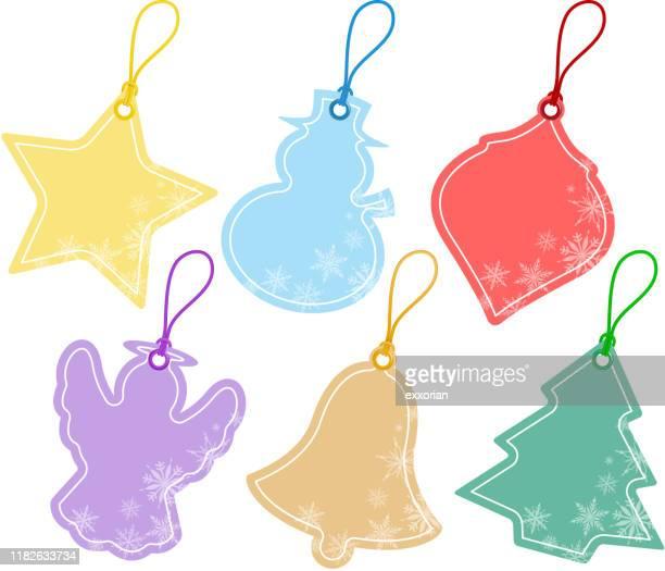 stockillustraties, clipart, cartoons en iconen met kerst prijskaartjes - oorhanger