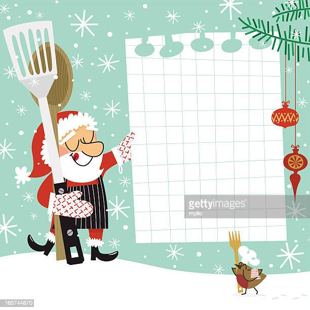 christmas recipe. santa claus chef - baked stock illustrations, clip art, cartoons, & icons