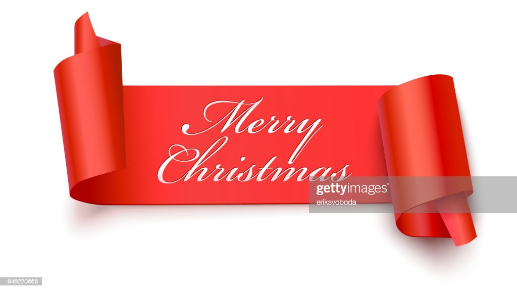 christmas red banner with greeting text 3d illustration new year banner on white backdrop realistic red ribbon with wrapped corners