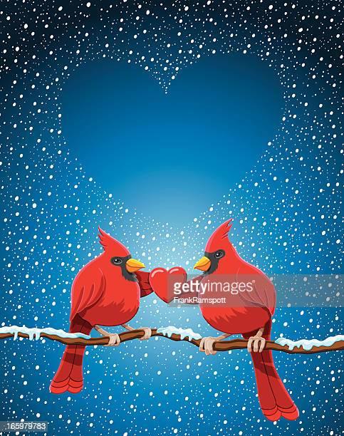 クリスマスレッドカーディナルの中心にあるツイッグ雪が降る