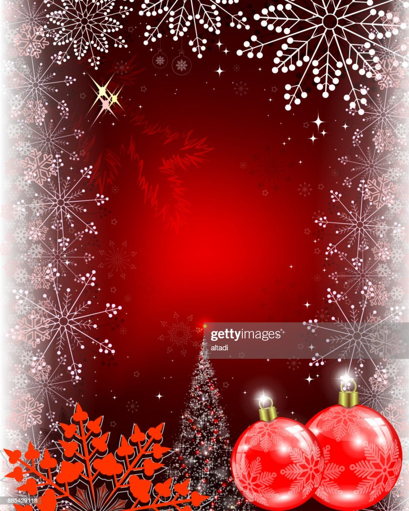 Christmas Red Design With Balls And Tree Vector Art