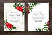 Christmas red poinsettia, eucalyptus, fir branch vector design winter frame on white
