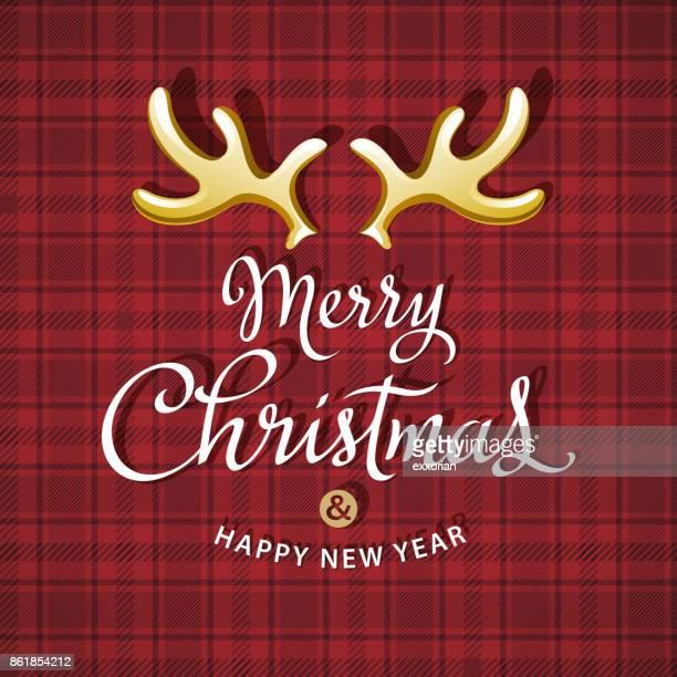 christmas reindeer antlers - tartan stock illustrations