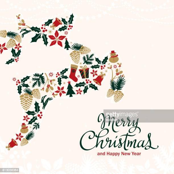 ilustraciones, imágenes clip art, dibujos animados e iconos de stock de reno decoración de navidad - flor de pascua