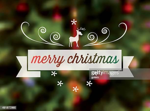 クリスマスのトナカイラインアートアイコンをぼかした緑色の背景 - クリスマスマーケット点のイラスト素材/クリップアート素材/マンガ素材/アイコン素材