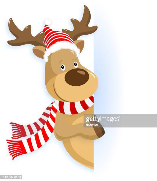 christmas reindeer pointing - naughty america stock illustrations