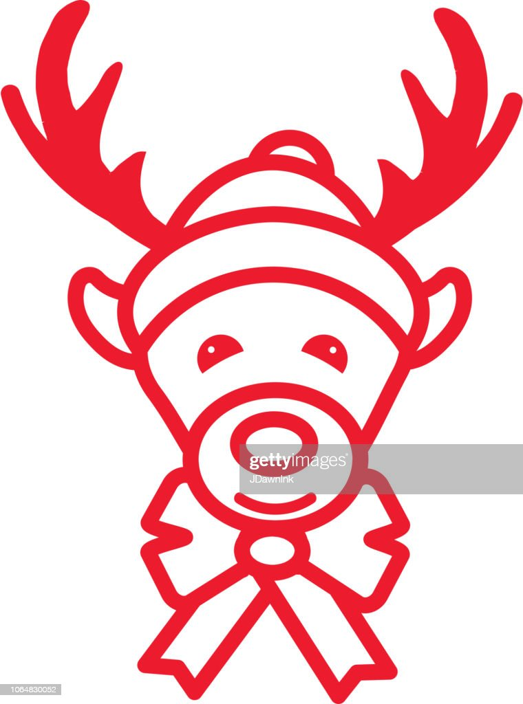 7c0e2f27dcbc4 Christmas Reindeer with Santa Hat Flat Outline art Design Icon Set   stock  vector