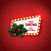 Christmas retro frame with realistic glowing lights