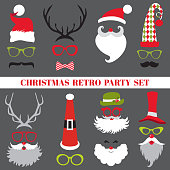 Christmas Retro Party set - Glasses, hats, lips, mustaches, masks