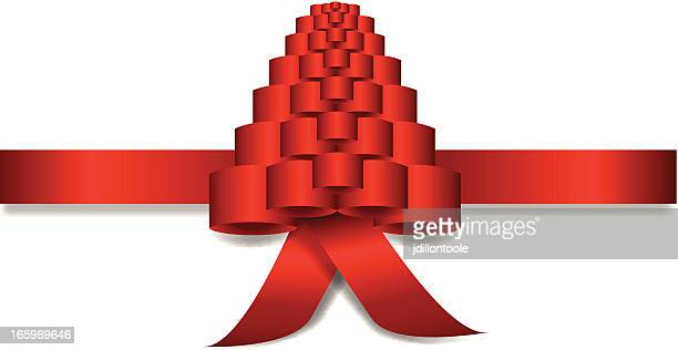 christmas ribbon - aids awareness ribbon stock illustrations