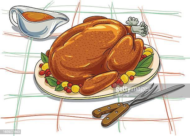 Christmas roasted turkey illustration