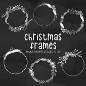 Christmas round frames, hand drawn christmas frames, new year