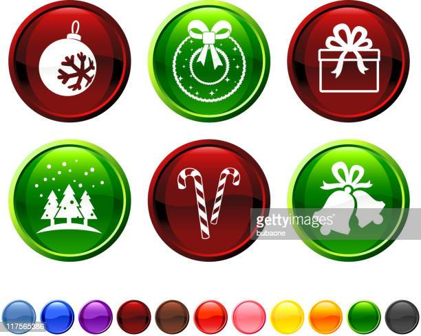 christmas royalty free vector icon set - chinese lantern lily stock illustrations