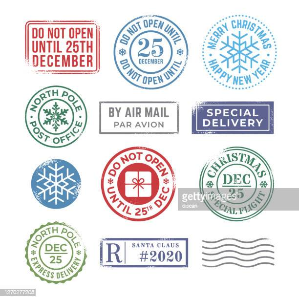 christmas rubber stamp collection. - postmark stock illustrations