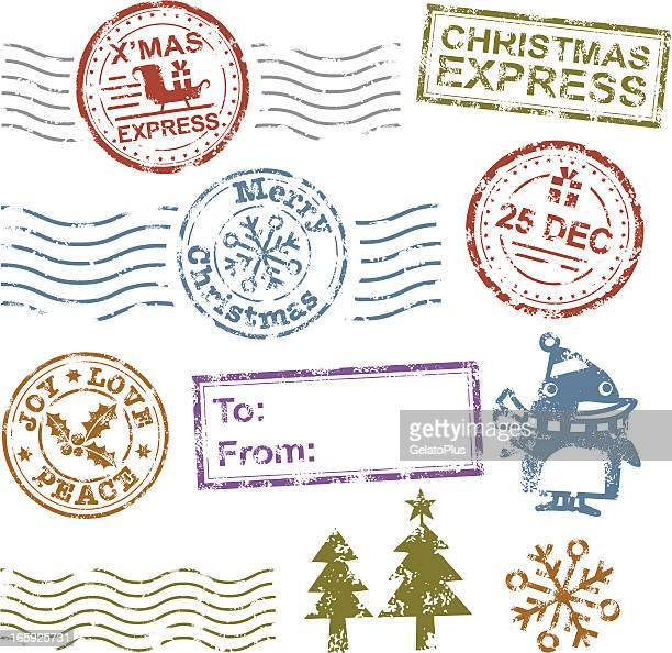 christmas rubber stamp - postmark stock illustrations