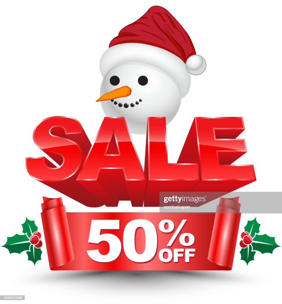 3D christmas sale 50 percent off red banner : Vektorgrafik