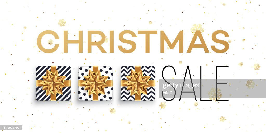 Christmas sale background with gifts boxes with gold bow. Template for postcard, booklet, leaflets, poster. Vector illustration