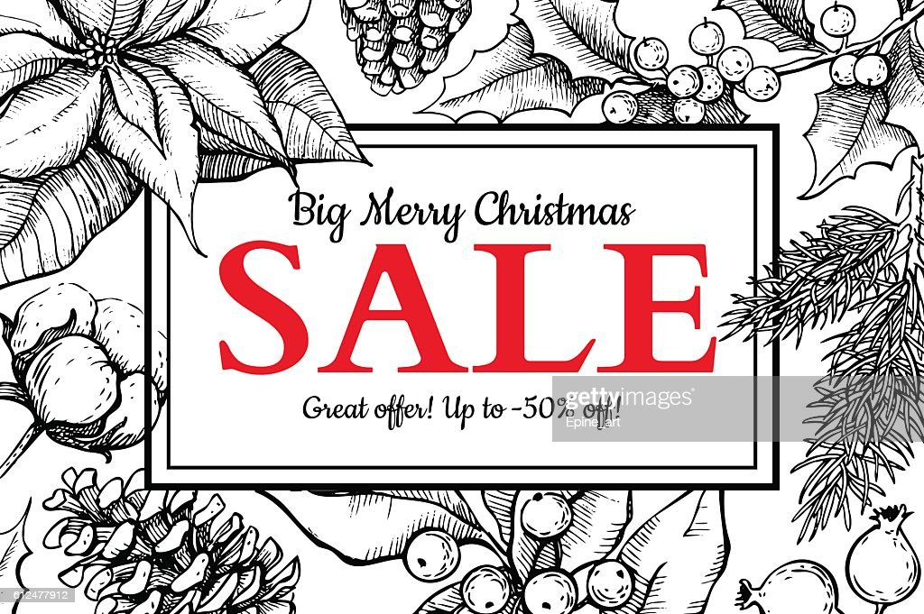 Christmas sale banner. Hand drawn vector holiday illustration wi