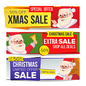 Christmas Sale Banner Set Vector. Merry Christmas Santa Claus. Winter Online Shopping. Horizontal Discount Banners. Xmas Promo Sale Banner Tag. Holidays Price Offer Labels. Isolated Illustration