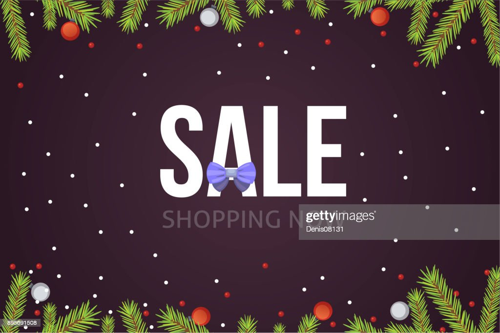 Christmas sale banner template with glitter balls and decoration. New year tree branches background.