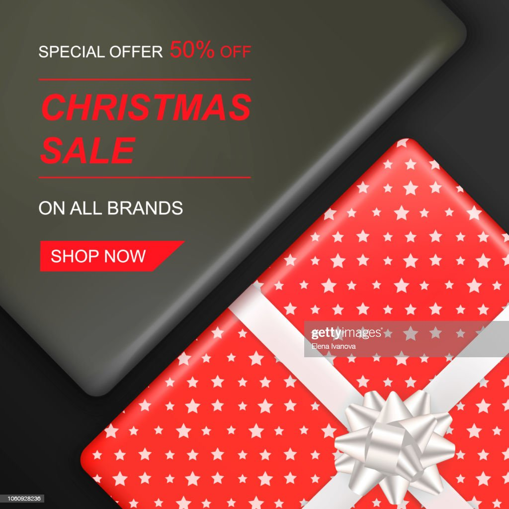Christmas sale banner with gift boxes top view.