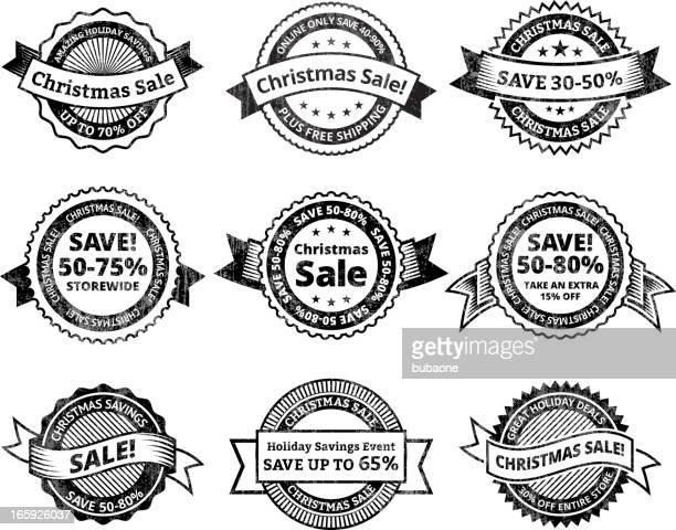ilustrações, clipart, desenhos animados e ícones de venda de natal & preto e branco royalty free vector conjunto de ícones - great seal