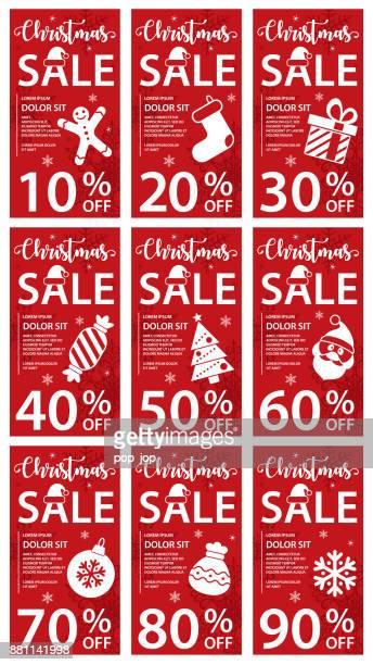 クリスマス セール割引カードのバナー - ベクトル イラスト - 数字の90点のイラスト素材/クリップアート素材/マンガ素材/アイコン素材