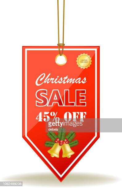 Christmas Sale Forty Five Percent Red Price Tag On A Rope