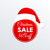 Christmas sale icon. 50% price off badge. Xmas and holiday discount design element with Santa Claus hat. Shopping decoration sticker or tag. Vector illustration.