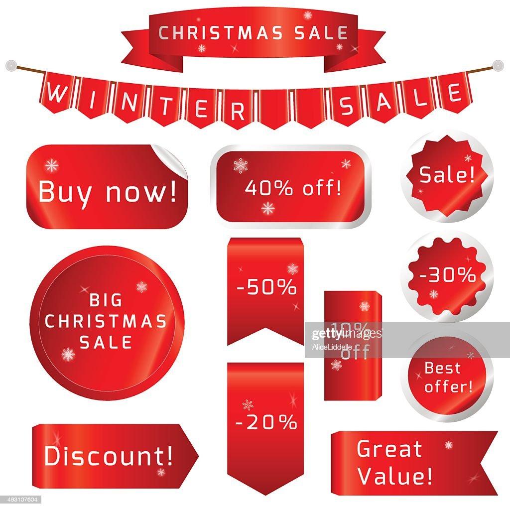 Christmas sale Ribbons Set isolated On White Background