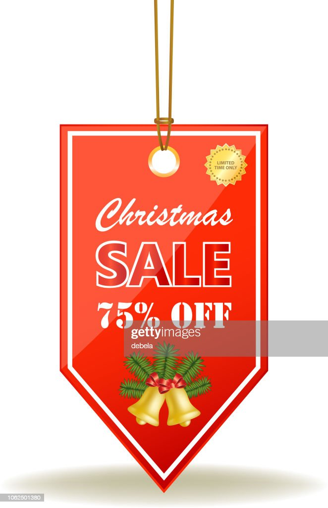 Christmas Sale Seventy Five Percent Red Price Tag On A Rope : stock illustration