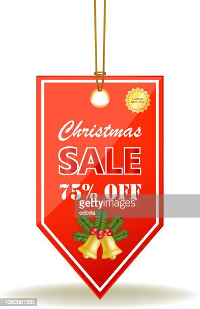 christmas sale seventy five percent red price tag on a rope - number 75 stock illustrations, clip art, cartoons, & icons
