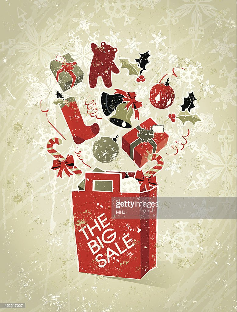 Christmas Sale Shopping Bag Elements With Gifts And Text Vector Art ...