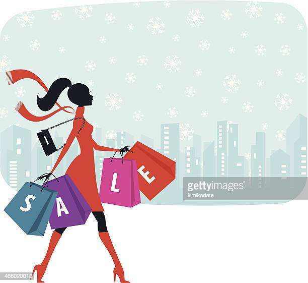christmas sale shopping - fast fashion stock illustrations