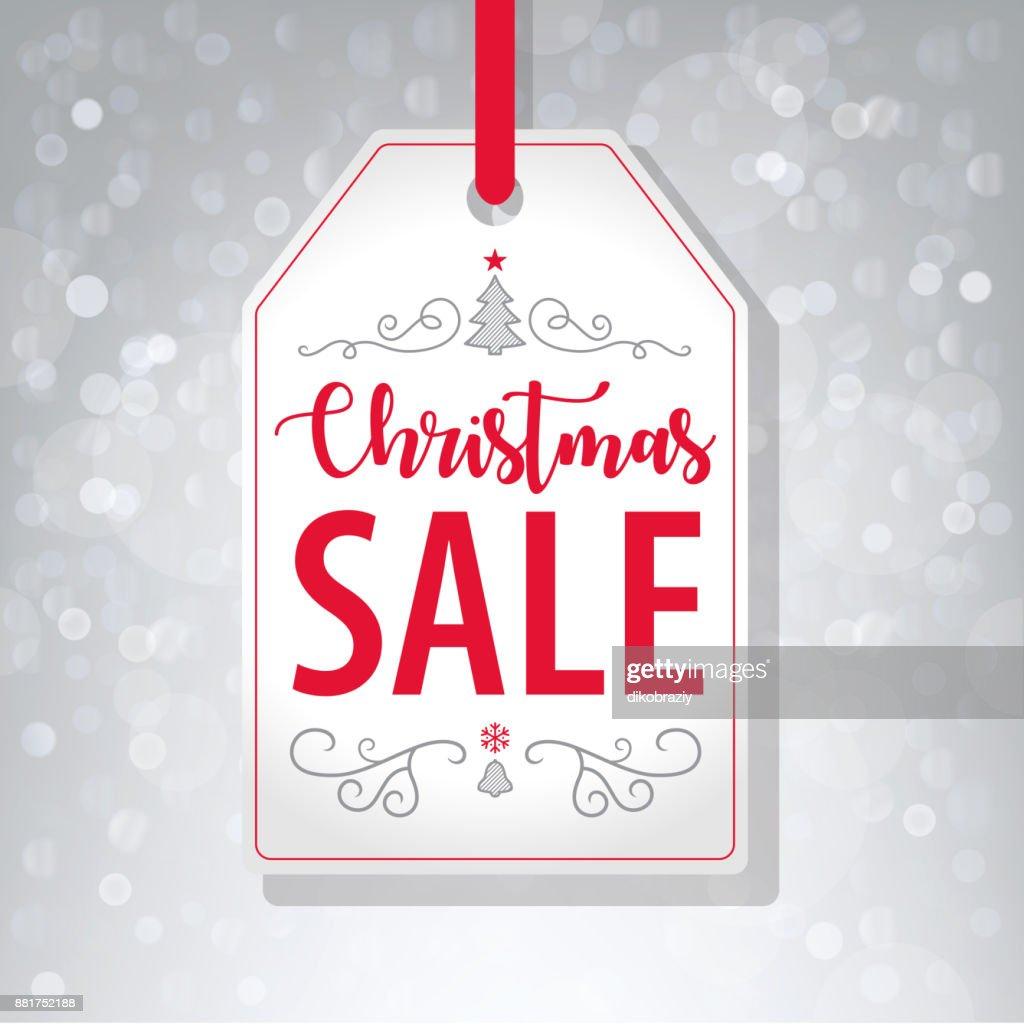 Weihnachtsverkauf Tag Label Auf Grauem Hintergrund Vektor ...
