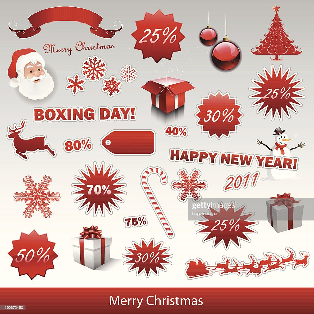 Christmas sale tags and boxing day