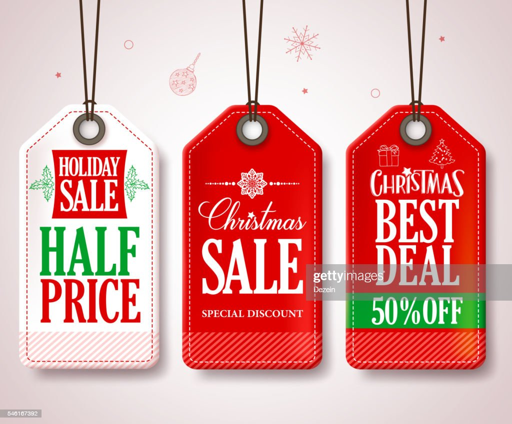 Christmas Sale Tags Set for Christmas Season Store Promotions