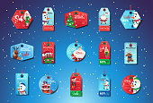 Christmas Sale Tags Set Of Colorful Special Offer Stickers Collection On Blue Background With Snowflakes