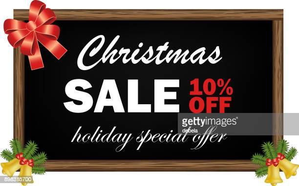 Christmas Sale Ten Percent Off Advertising Blackboard