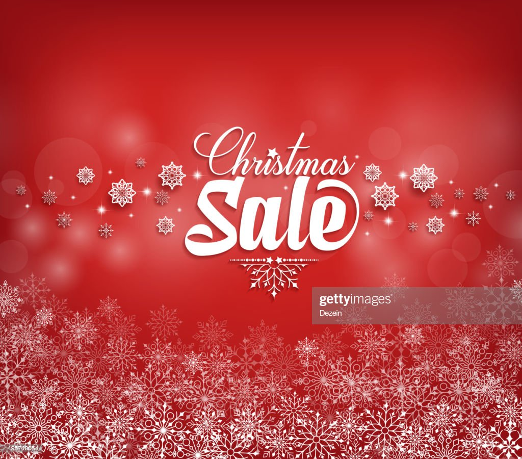 Christmas Sale Text Design with Snow Flakes in Red
